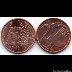 2 cent : 2019 Marianne, symbole de la République française.