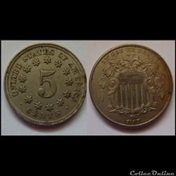 5 cent Etats-Unis Bouclier 1867
