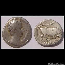 Denier Auguste Bull 15-13 avant J.-C