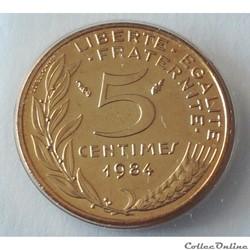 5 centimes Marianne 1984 Pessac F.125/20
