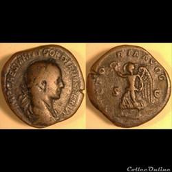 Gordien II Sesterce - (regravure) -VICTORIA AVGG