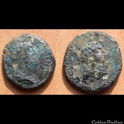 Faustine mère et Galerius - bronze provincial
