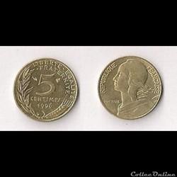 5 Cts Marianne 1996 3 plis