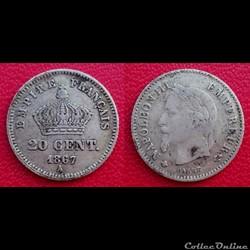 20 Cts Napoléon III Tête Laurée Grand Module 1867 A