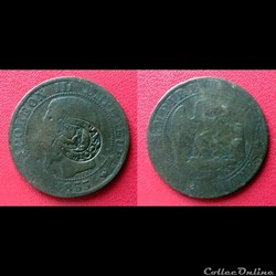 """5 Cts Napoléon III Contremarqué """"ASCOT"""" ..."""