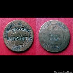 "10 Cts Napoléon III Contremarquée ""DREW&..."