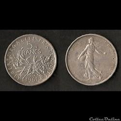 5 Francs Semeuse Argent 1961