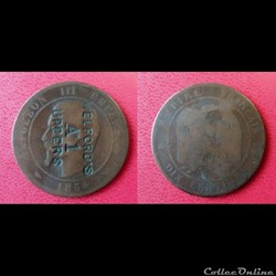 "10 Cts Napoléon III contremarquée ""WELFORD'S A 1 UPPERS"""