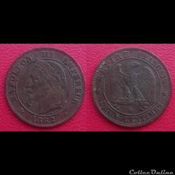 2 Cts Napoléon III Tête Laurée 1862 BB