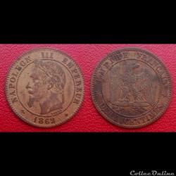 2 Cts Napoléon III Tête Laurée 1862 A