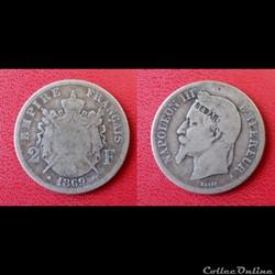 2 Francs Napoléon III Contremarquée SEDAN 1869 A