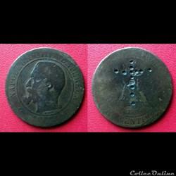 10 Cts Napoléon III avec une croix poinç...