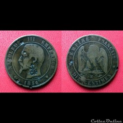 10 Cts Napoléon III contremarqué CP au dessous d'une ancre