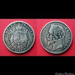 "5 Francs Napoléon III contremarquée ""AB"""