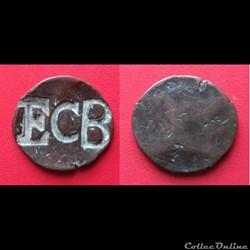 """Monnaie anglaise XIXème contremarquée """"ECB"""""""