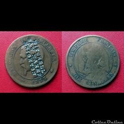 "10 Cts Napoléon III Contremarquée ""MITCH..."
