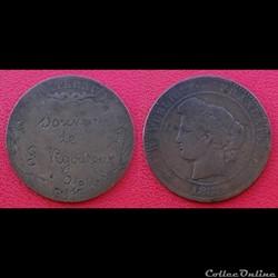 """10 Cts Cérès 1888 regravée """"Souvenir de ..."""