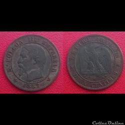 2 Cts Napoléon III Tête Nue 1857 W