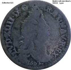 Quatre sols aux deux L couronnés 1693 D