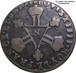 Six deniers dits Dardenne 1712 Montpelie...