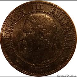 2 Centimes Napoléon III Tête Nue 1855 Le...
