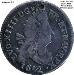 Quatre sols aux deux L couronnés 1692 at...