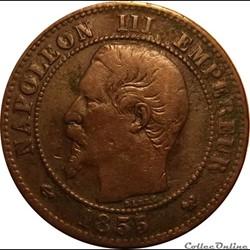 2 Centimes Napoléon III Tête Nue 1855 W