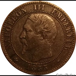 2 Centimes Napoléon III Tête Nue 1855 MA
