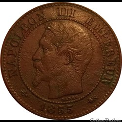 2 Centimes Napoléon III Tête Nue 1855 Gr...