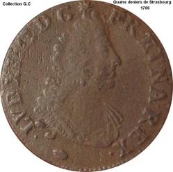 Quatre deniers de Strasbourg 1706