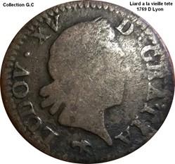 Liard a la vieille tete 1769 D Lyon