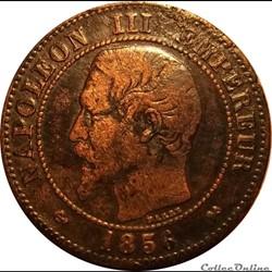 2 Centimes Napoléon III Tête Nue 1856 B