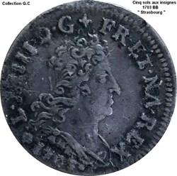 Louis XIV Cinq sols aux insignes 1703