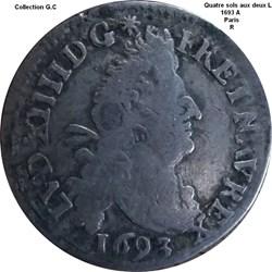 Quatre sols aux deux L couronnés 1693 A