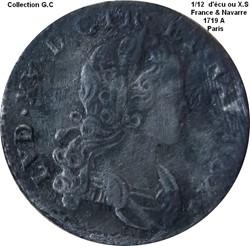 1/12 écu ou X-S de France & Navarre 1719...