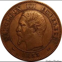 2 Centimes Napoléon III Tête Nue  1853 A