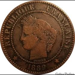 Deux Centimes Cérès 1889 A