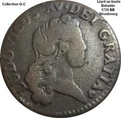 Liard au buste enfantin 1720 BB Strasbou...