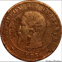 2 Centimes Napoléon III Tête Nue 1853 BB