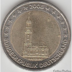 2 euros  2008 hambourg  j