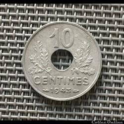 10 centimes 1943 état francais flanc épa...