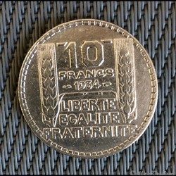 10 francs 1934 Turin (3 ouvert)