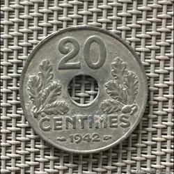 20 centimes 1942 état francais