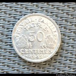 50 centimes 1942 Bazor lourde