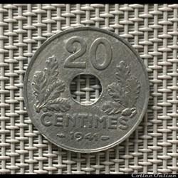 20 centimes 1941 état francais striures fines
