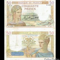 "50 francs type 1933 ""Cérès"""