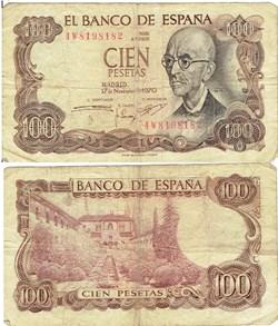 ESPAGNE  100 PESETAS 1970