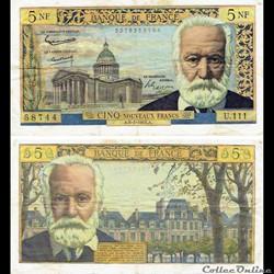 """5 nouveaux francs type 1959 """"Victor Hugo..."""