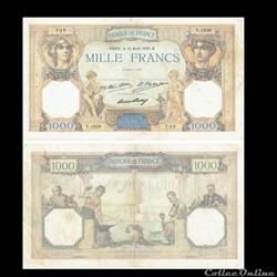 """1 000 francs type 1927 """"Cérès et Mercure..."""