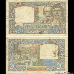 """20 francs type 1940 """"Travail et Science"""""""
